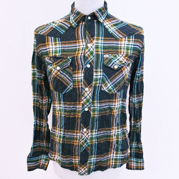 Retro SALT VALLEY Designer Hipster Indie Plaid Lumberjack Shirt Medium
