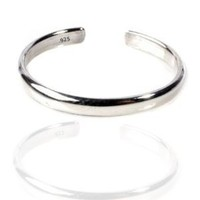 Sterling Silver Toe Ring Plain 925 Solid Band, One Size Fits All Flexible