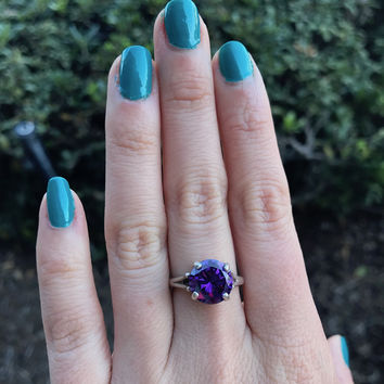 Purple Cocktail Ring - Ready to Ship - Size 7