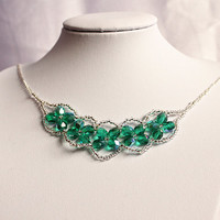 Teal and silver beaded necklace Green faceted bead Bib necklace Statement necklace UK seller