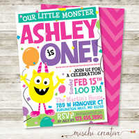 "Our Little Monster Girl's Birthday Party DIY Printable Invitation in Yellow, Pinks, Greens and Aquas, 5"" x 7"""