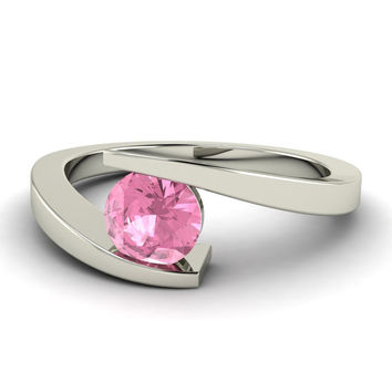 Natural Pink Tourmaline Solitaire Engagement Ring in 14K Gold - Willis