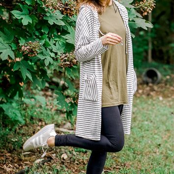 Fanciful Striped Hooded Jacket