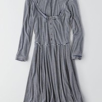 AEO Women's Ribbed Fit & Flare Dress (Navy)