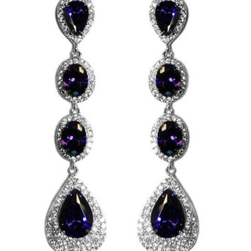 Chloey Amethyst Purple Linear Long Chandelier Earrings | Cubic Zirconia | Silver