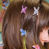 Butterfly Clips Hair Iridescent Neon Mini Seapunk Cyber Princess 90s Small Hair Clips butterflies Neon Millennium Rainbow Hair Accessories