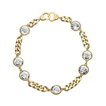 7 Crystal Curb Chain & Handcuff Clasp Necklace