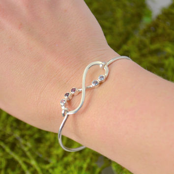 Fathers Day Sale Infinity Bangle Bracelet - Mothers Jewelry - Mother of the Bride Gift - Family Gemstone - Infinity Jewelry - Bridesmaid Jew