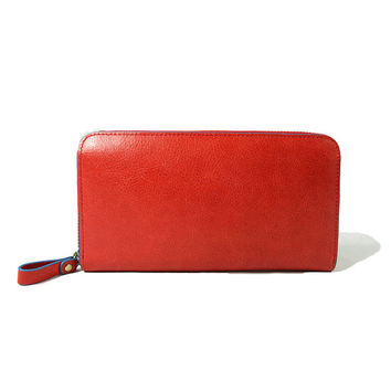 Baimiao Red Leather Zip Around Wallet