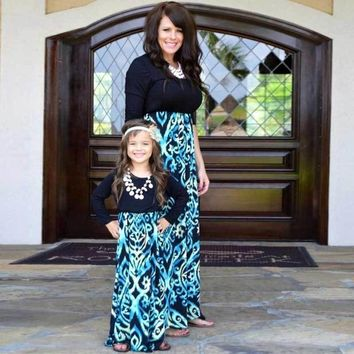 Mommy and Me Fashion Fall Dresses Patchwork Blue and Black Mom and Daughter Dresses