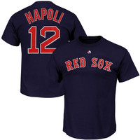 Mike Napoli Boston Red Sox Majestic Official Name and Number T-Shirt – Navy Blue