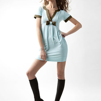 Short sleeve dress Cocktail dress V neck dress Party dress Light Blue dress Sexy dress Designer dress New year dress