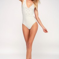 Bendetta White Eyelet One-Piece Swimsuit