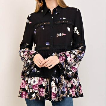 Button-Down Floral Print Shirt Tunic
