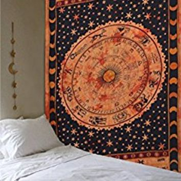 Tapestry Twin Black and White Hippie Elephant Mandala Tapestry Indian Traditional Beach Throw (Twin (210cm x 140 cm) Orange, Orange)