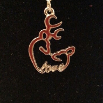 Red browning buck and doe kissing heart with love necklace, earrings, key ring, set jewelry