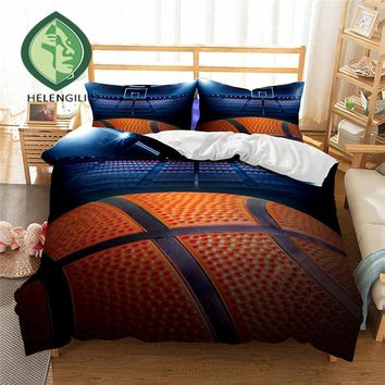 HELENGILI 3D Bedding Set Basketball Print Duvet cover set lifelike bedclothes with pillowcase bed set home Textiles #2-01