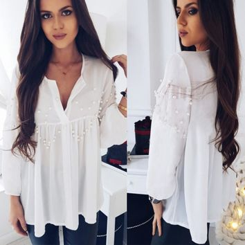 Fashion Womens Casual Chiffon Crop V-Neck Shirt Blouse Beading Loose Tops White