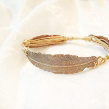 Brass Feathers on Wire Wrapped Bangle - Embossed Brass Oxidized and Patina on Non Tarnish Brass Wire