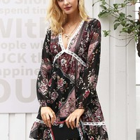 Simplee Floral Scarf Print Lace Insert Dress