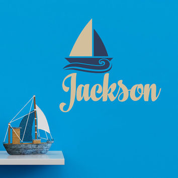 Boy Name Wall Decal- Nautical Boy Nursery Wall Decals- Personalized Decal Boys Room Decor- Nautical Decor Baby Boys Kids Room Playroom 006