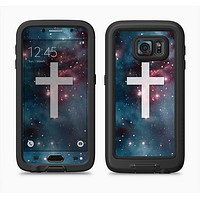 The Vector White Cross v2 over Bright Pink Nebula Space Full Body Samsung Galaxy S6 LifeProof Fre Case Skin Kit