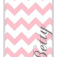 Personalized Light Pink and White Chevron Pattern rubber iphone 4 case - Fits iphone 4 & iphone 4s