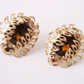 1930s 1940s Topaz Glass Floral Wire Earrings / Antique Jewelry / Vintage Jewelry / Jewellery