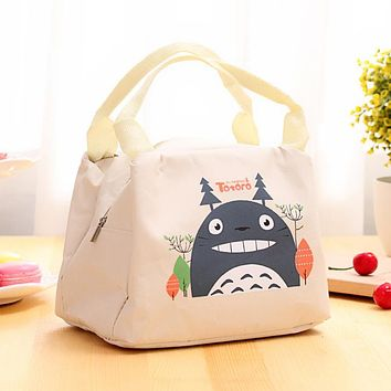 Cute Cartoon Cotton Picnic Outdoor Picnic Bag Ice Pack Fresh 2 Layer Car Ice Pack Women kids Men Cooler Lunch Bag Tote
