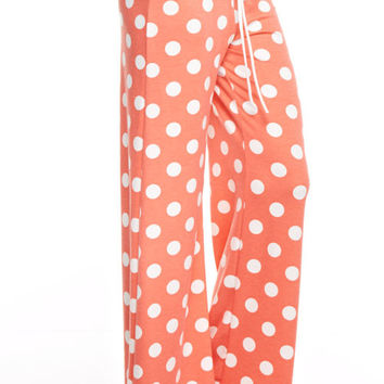 Casual Polka Dot Pants - Coral