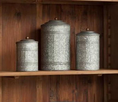 Galvanized Farmhouse Canister Set From Painted Fox Treasures