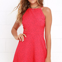 BB Dakota Olive Coral Pink Print Dress