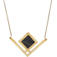 Pamela Love Black Agate Rise Pendant Necklace