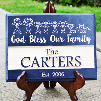 Christian decor wall art / Personalized Family Name Engraved Wood Sign