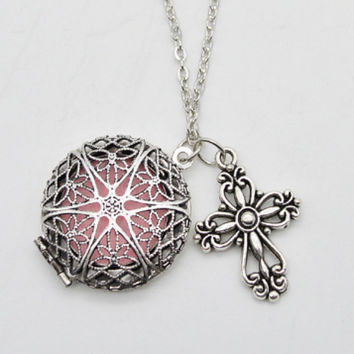 Round Filigree Essential Oil Diffuser Necklace with Cross Charm