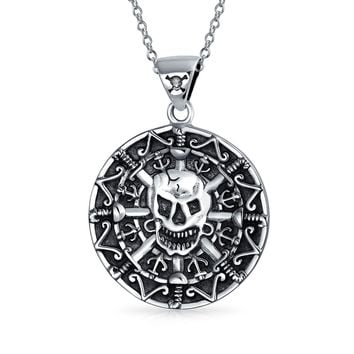 Caribbean Pirate Skull Coin Medallion Pendant Necklace Sterling Silver