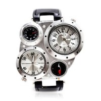 ZLYC Men's Compass Thermometer Sports Watch (Black and white)
