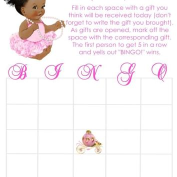 10 Princess Baby Shower Bingo Cards Dark Skin