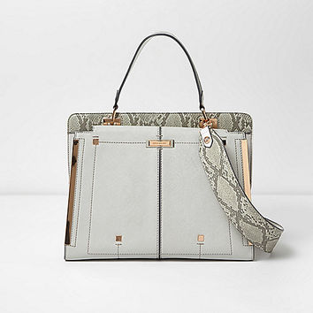 Metallic grey boxy tote bag
