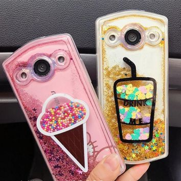 Applicable to the Mito T8 M8 cute sweetener phone shell flash powder flow sand shell drop M6s V4 ice cream phone case