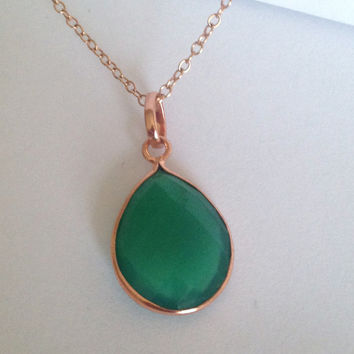 """Gorgeous Green Onyx """"You Are Glorious"""" Bezel Rose Gold Pendant Necklace"""