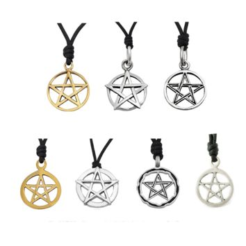 Pentagram Star Pewter Silver Charm Necklace Pendant Jewelry With Cotton Cord