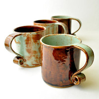 Ceramic Teacups Pistachio and Brown Scroll Handle by GlazedOver
