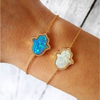 Hamsa Bracelet | Adjustable Opal Hamsa Bracelet in Sterling silver plated with 18K Gold | Good Luck Bracelet