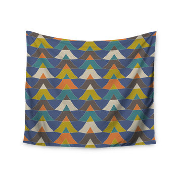 "Julia Grifol ""Colorful Triangles"" Blue Multicolor Wall Tapestry"