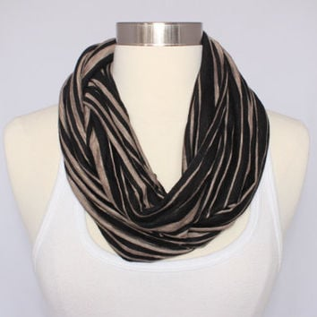 Lightweight Jersey Infinity Scarf - Black with Taupe Stripes