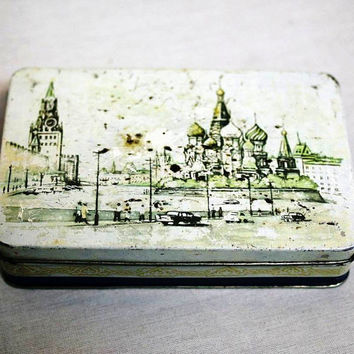 Vintage Russian Candy Metal Box Biscuit Tin Container - Moscow Red Square Kremlin St Basil's - 1950s - from Russia / Soviet Union / USSR