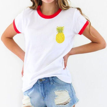 Summer Women's Fashion Short Sleeve Print Pineapple Tops Hot Sale T-shirts [9012882308]