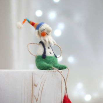 Needle Felt Santa Elf - Dramy Crhistmas Elf - Christmas Decoration - Needle Felted Art Doll - Santa Elf - Needle Felt Home Decor