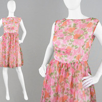 Vintage 50s 60s Chiffon Dress Full Skirt Floral Dress Soft Pleat Dress 1950s Tea Dress Hourglass Dress Floral Sheer Dress Pretty 50s Dress